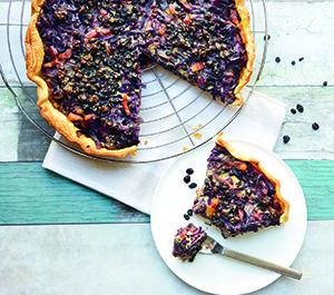 Recette : tarte au chou rouge et raisins